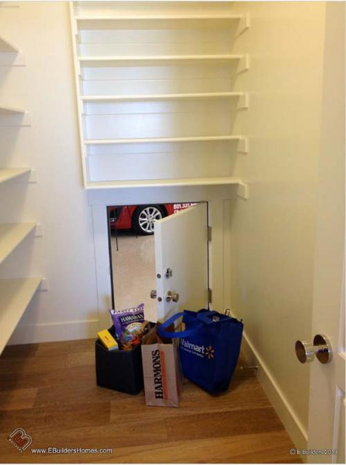 12.) If your garage is adjacent to your kitchen, add a little door to make unloading groceries easier.