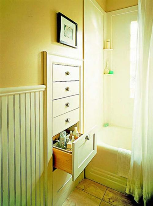 30.) Build drawers in the wasted space between studs in the wall.