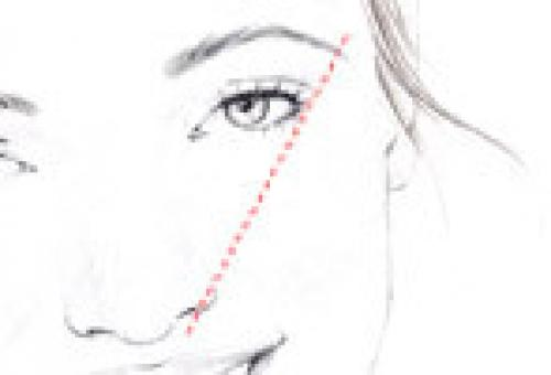STEP 4 Next, angle the pencil so it aligns with the outer corner of the eye. Where it hits the brow is where the eyebrow should end. At this point, it should taper slightly down.