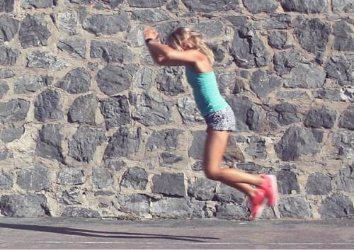 Long jumps strengthen your legs and increase reaction time.