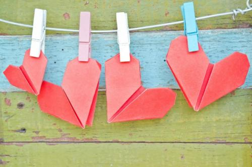 cute hearts made of paper
