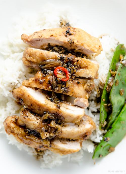 Chicken with black pepper sauce